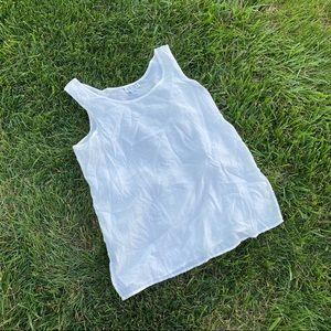 Vtg 90s silk white tank top md semi sheer